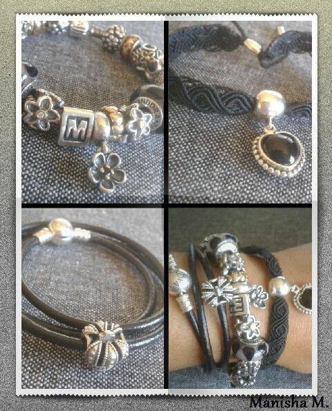 767a04081 >>>Visit>> PANDORA Black Theme Bracelet Stack. Silver Leather and Macramé.  #fashion