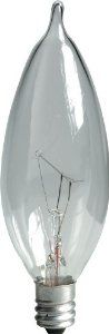GE Lighting Crystal Clear 24782 40-Watt, 370/280-Lumen Bent Tip Light Bulb with Candelabra Base, 12-Pack by GE Lighting. $11.97. From the Manufacturer                GE 24782 ProLine 40-Watt Candelabra Base Bent Tip Bulb, 12-Pack.  40-watt lamps for home, apartment, and office lighting.  Bent Candelabra bulbs are decorative.  designed for either 130/120-volts.  12-Pack case of light bulbs. Manufacturer Description Code:40CAC/PRO-12PK                                    P...