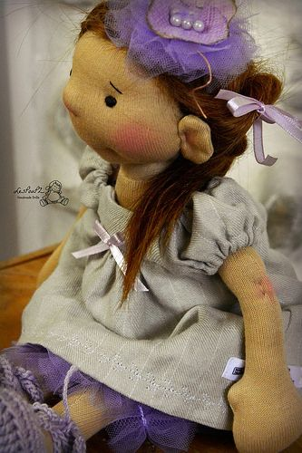 Anna's Linen dress and tulle Pinafore, custom doll, LesPouPZ Handmade Waldorf Dolls