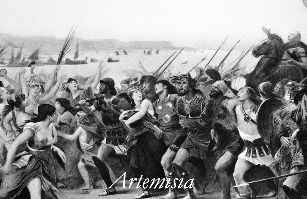 Artemisia I of Caria was a rebellious queen, military strategist, and wartime commander of 5th Century Halicarnassus. She allied herself with the Persian King Xerxes, and basically told him he was being an idiot about his strategy. He scoffed at her suggestions, the Persians suffered heavy defeat at the Battle of Salamis (pictured), even though Artemisia bravely led her fleet into the fray. The historian Herodotus notes that Xerxes was careful to take her advice after that.