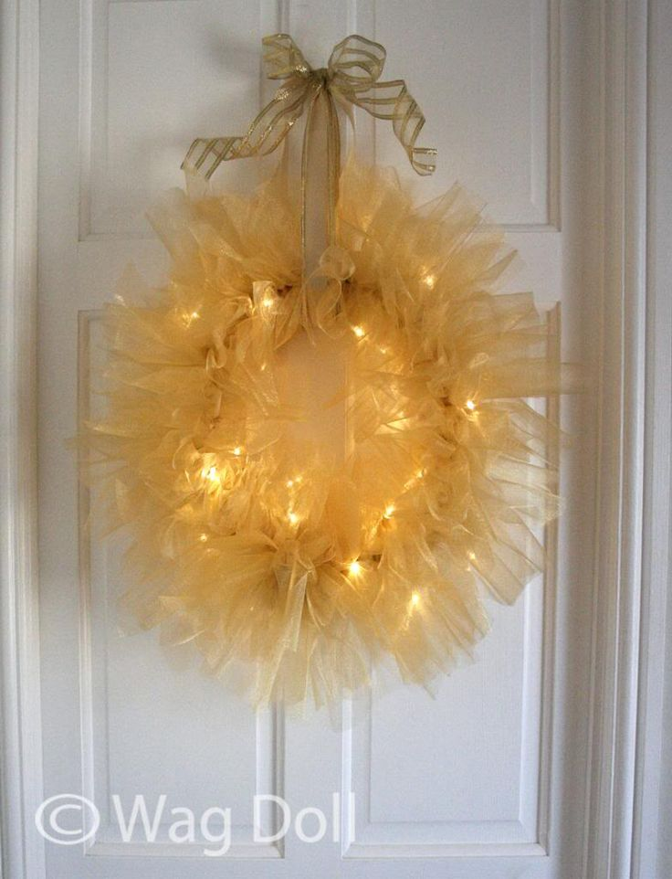 gold tulle fairy light wreath. Easy NO SEWING or even glue. Great pictorial tutorial.