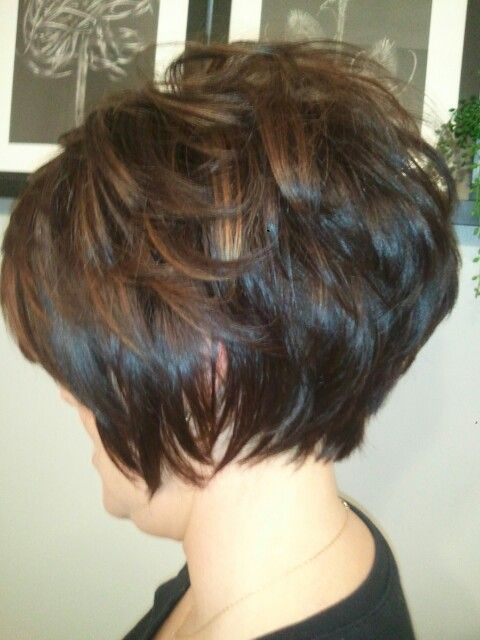 Salon Envy...another graduated Bob w caramel highlights.