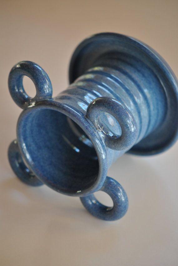 Porte brosse à dents céramique bleu foncé par Hertzpottery sur Etsy