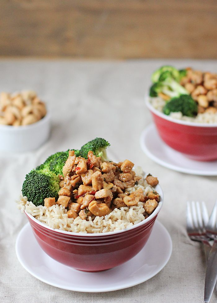 Here's another meal made in 30 minutes or less! This spicy cashew chicken has all of the deliciousness of Chinese fast food, but healthier!