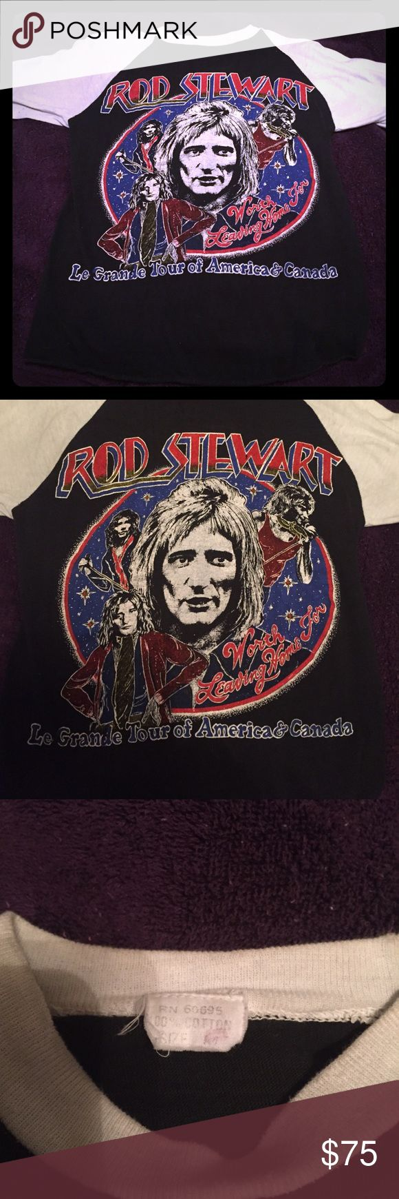 """Vintage ROD STEWART tour shirt from early 80s Very rare """"Bootleg"""" Rod Stewart concert shirt from early 1980s. Size extra small. Tops Tees - Long Sleeve"""