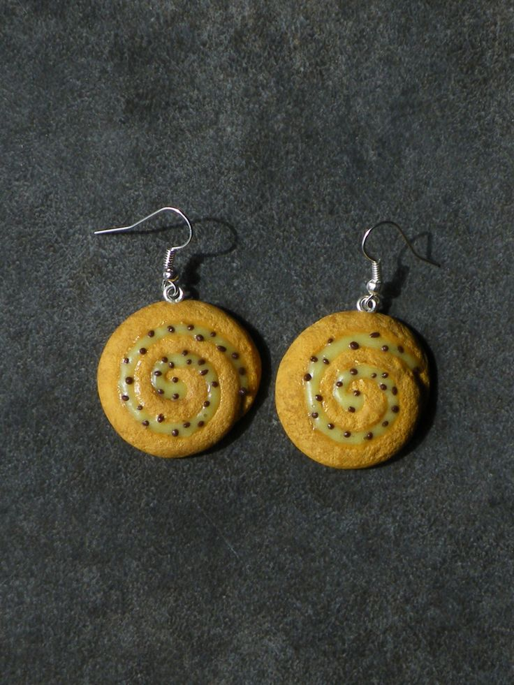 Boucle d'oreille pain au raisin en fimo Argent 925 : Boucles d'oreille par jl-bijoux-creation