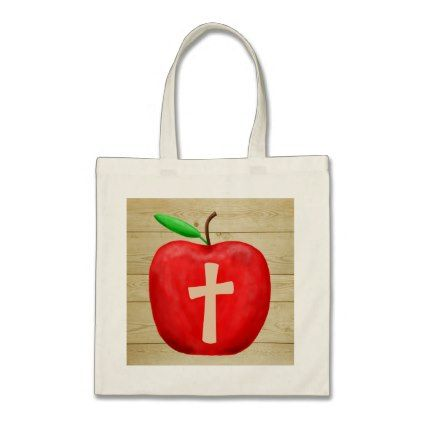 Red Apple Monogram Tote Bag - monogram gifts unique design style monogrammed diy cyo customize