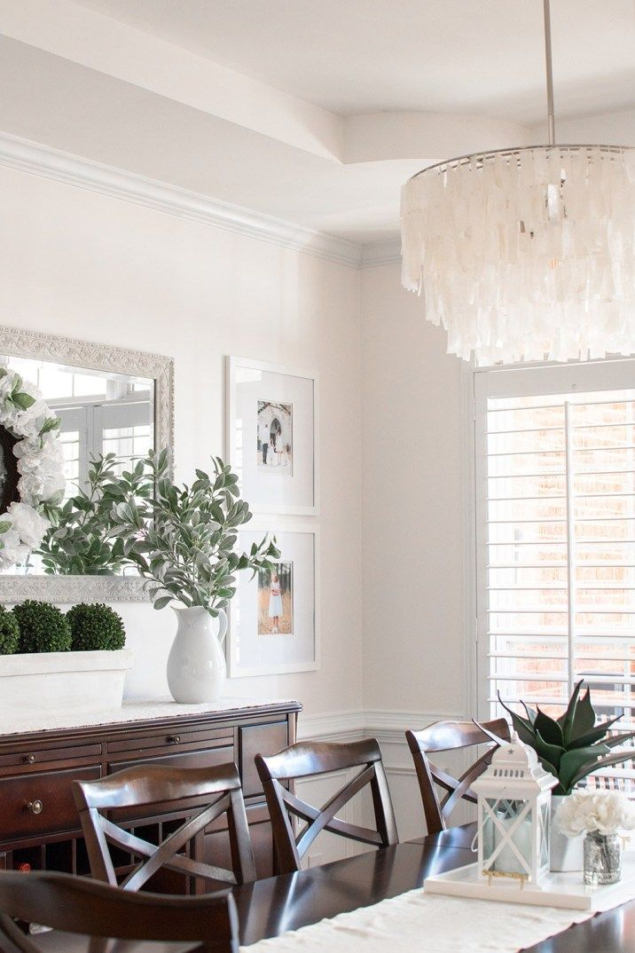 A Cozy White On White Dining Room Overhaul Mom Without Labels Dining Room Centerpiece Dining Room Buffet Decor Modern Farmhouse Dining Room