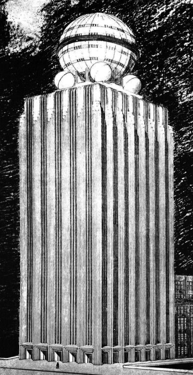 W.  Funke, Entry to the Chicago Tribune Tower Competition, 1922  #architecture #drawing Pinned by www.modlar.com