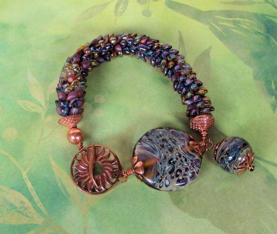 Beaded Kumihimo bracelet with handmade lampwork beads 3 via Etsy