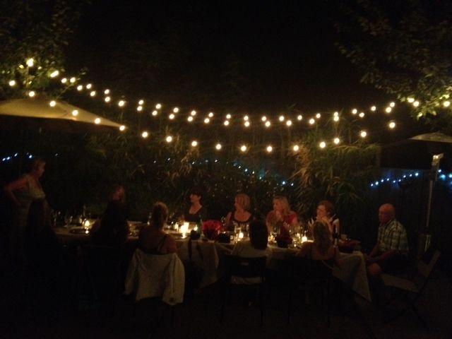 backyard party lighting. dinner party reluctant entertainer backyard lighting