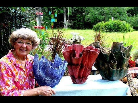 25 Portland Cement Red Sand Draped Flower Pots In Ga