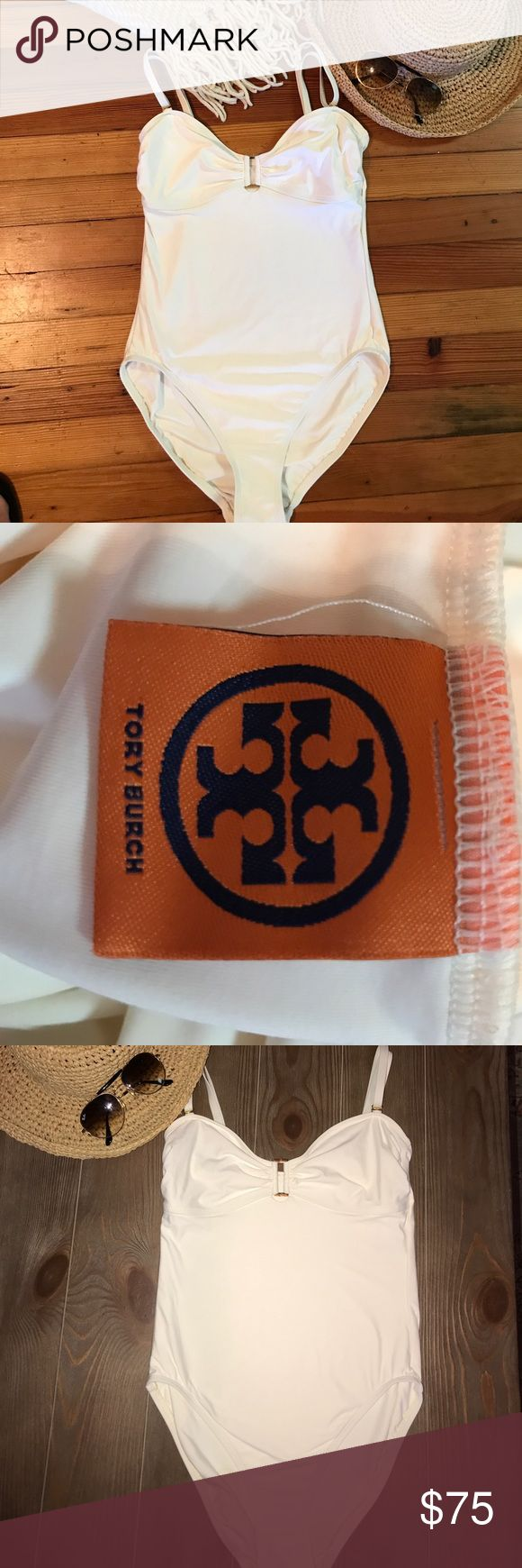 TORY BURCH CREAM SWIMSUITS!🌴🌞 Beautiful swimsuit! Never wore. Sanitary liner still intact. I have way to many swimsuits!!😐 GORGEOUS SUIT!! Never outdated!! Tory Burch Swim One Pieces