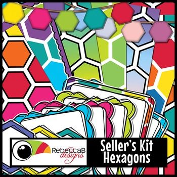 Seller's Kit Hexagons is vibrant and eye-catching with plenty of colorful elements for sellers to create amazing product covers, posters, educational products etc.  Import into your editing program, eg. PowerPoint, to place a border or frame over a bold, hexagon background, add a label or header and finish it off with hexagon bunting.