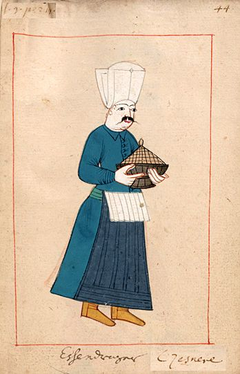 "Servant and taster  ""Essendrager - Czesnere"" Cesnici.  The 'Rålamb Costume Book' is a small volume containing 121 miniatures in Indian ink with gouache and some gilding, displaying Turkish officials, occupations and folk types. They were acquired in Constantinople in 1657-58 by Claes Rålamb who led a Swedish embassy to the Sublime Porte, and arrived in the Swedish Royal Library / Manuscript Department in 1886."