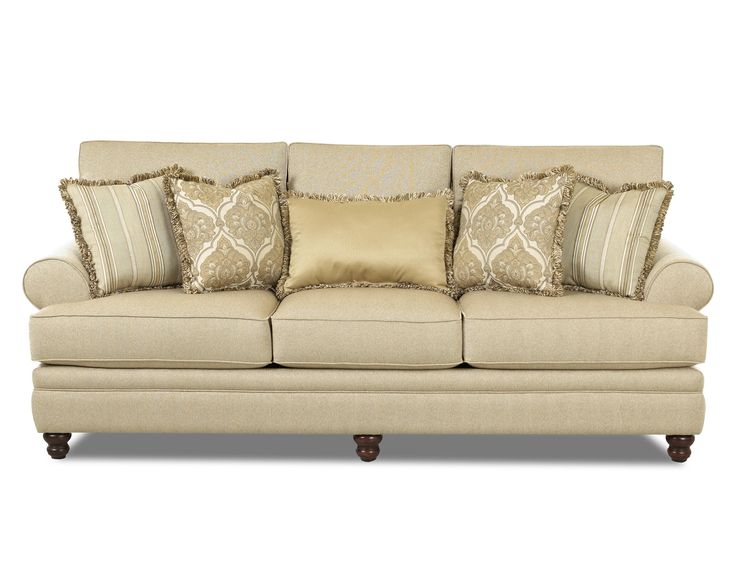 Darcy Rolled Arm Sofa With Accent Pillows By Klaussner