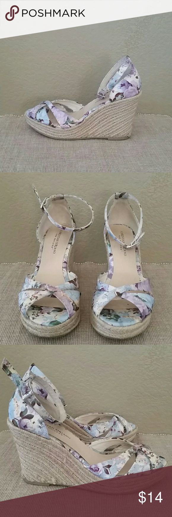 Christan Siriano floral wedge espadrilles sandal 9 Christian Siriano for Payless floral wedges, Espadrilles, sandals, adjustable ankle strap, 1 inch platform, 4 inch total heel height, size 9, pre-owned Christian Siriano Shoes Espadrilles
