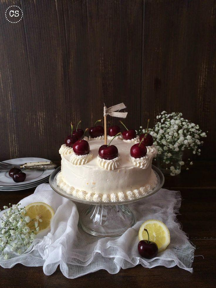 Cupcakesoy: Layer cake de limon y cerezas!