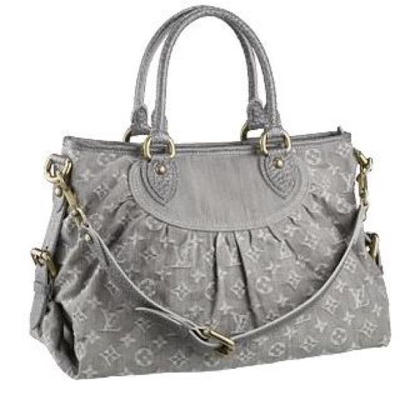 Louis Vuitton Grey Denim Neo Cabby IN GREAT CONDITION! This Louis Vuitton cabby MM bag is a chic and modern bag. It features stonewashed grey denim with the iconic LV pattern, pleated details, leather trim, rolled handles, a detachable shoulder strap, a top zip closure, studs at the base and gold-tone hardware. The spacious alcantara interior with two patch pockets makes it a perfect casual everyday tote! Comes with dust bag! Louis Vuitton Bags Shoulder Bags