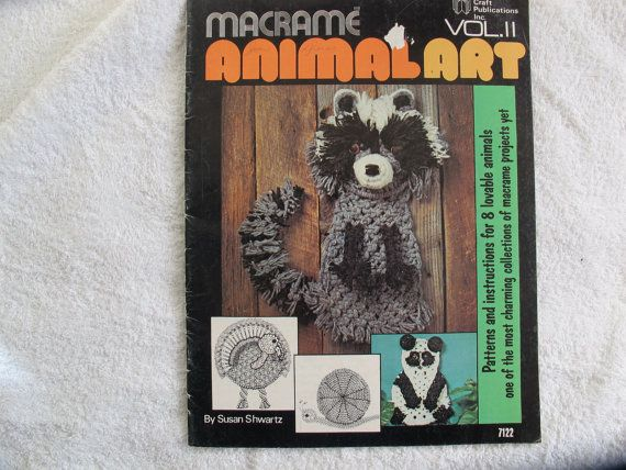 Great variety of macrame animal instructions in this vintage 1970s instruction booklet by Susan Schwartz. 23 pages. About 8 1/2 x 11 inches in size. Very good condition, no stains or tears. Includes instruction for raccoon, rabbit, sheep, panda, monkey, turkey, skunk and snail. All