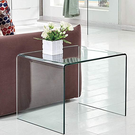 Amazon Com Glass End Tables Living Room Sofa Beside Table Patio Outdoor Side Table Clear 24 8x19 7x18 9 In In 2020 Living Table Living Room Table Glass Side Tables