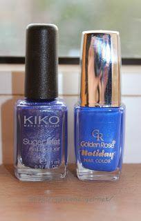 NOTD- Night sky Kiko 644 Golden rose Holiday 61