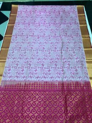 Traditional Handmade Grey With Pink Pallu Silk Saree Sarees on Shimply.com