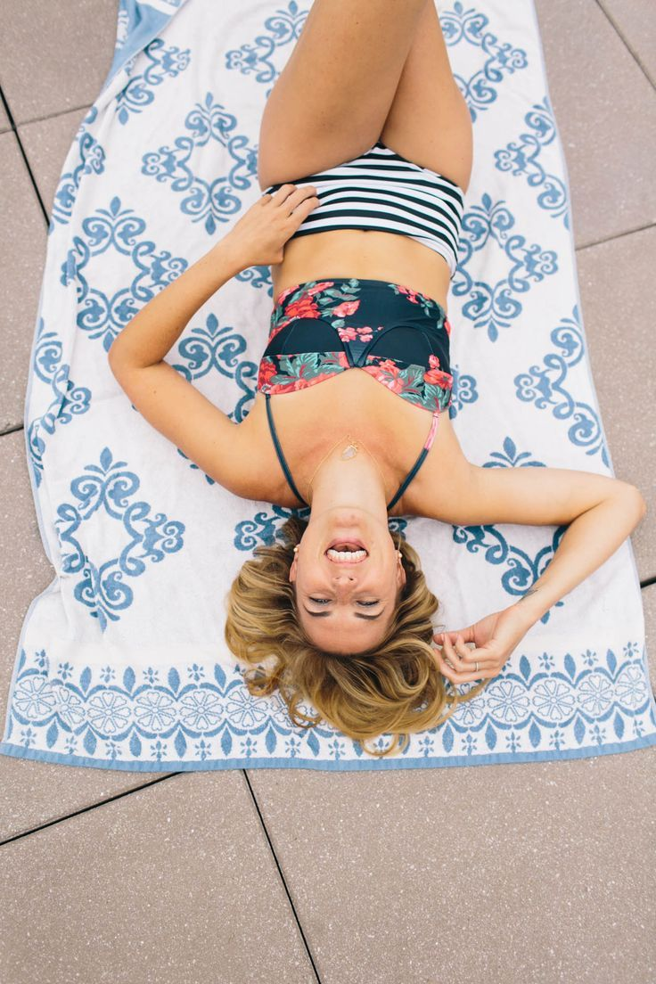 the cutest girl wearing our flattering, girly two piece #swimsuit! our Antigua Floral Pin-Up #Top + Stripies 101 High Waisted Bottoms is great for teens and for moms! | @Albion Fit