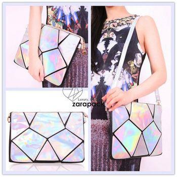 New Geometry Hologram Clutch Handbag 2 Handle Straps Purse Shoulder Bag IT BAG Wristlet