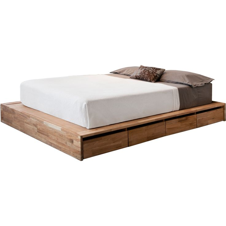 contemporary bedroom with ikea low platform bed solid english walnut oil finish materials and white king size fit mattress home decor pinterest more - Twin Bed Frame And Mattress Set
