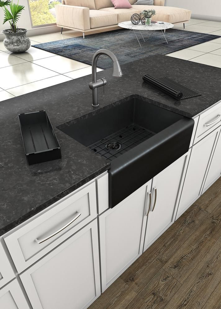 Whitehaus 30 Stainless Steel Farmhouse Apron Sink Kit Matte