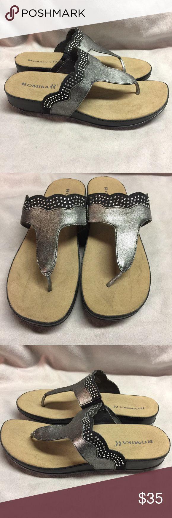 Romika Womens Fidschi 44 Sandal Anthrazit Black Romika Womens Fidschi 44 Dress Sandal Anthrazit Black Size 41 EU 10-10.5 Med  Great condition Romika Shoes Sandals