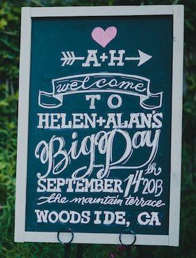 Elegant Chalk Board Wedding Welcome Sign.