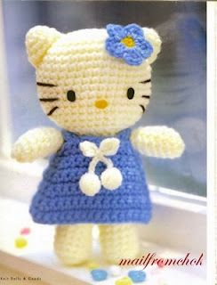 Crochet Hello Kitty patterns, in Portuguese but with charts