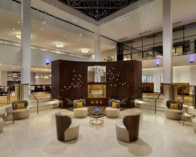 Hilton Stamford Hotel & Executive Meeting Center, CT - Lobby Fireplace Seating Area | CT 06902