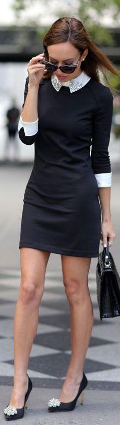 Ted Baker #vestido #tubinho #manga #gola #preto&branco #bolsa #óculos
