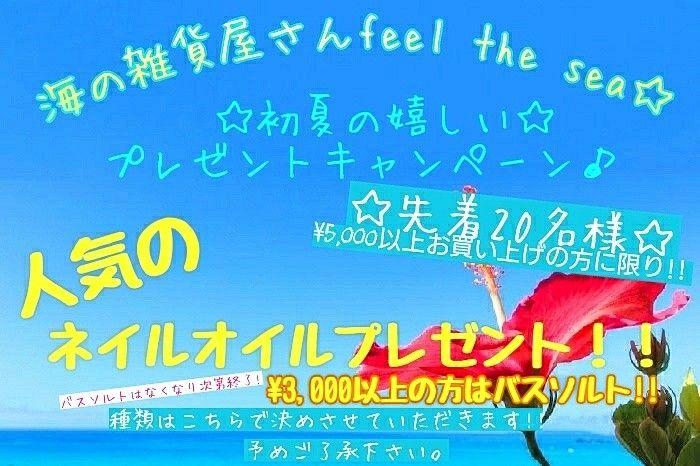 ALOHA  海の雑貨屋さんfeel the sea☆   2017年4月24日22:00より、 夏まで待てない✨ 初夏の嬉しいプレゼントキャンペーン‼️‼️実施中✨  3,000→アロマバスソルト(なくなり次第終了)  5,000→ネイルオイル(先着20名様)  この機会にぜひ、お越し下さいませ✨  ✨MAHALO️