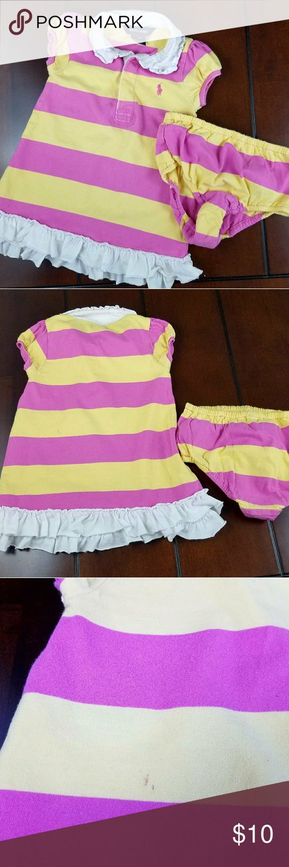RALPH Lauren Ruffle Polo Dress Available pre-loved in size 18 months there are no holes and no tears but a few lights things as pictured. Features invisible 2 button placket, ruffle color, short sleeves, and ruffle hem, pink embroidered logo. 100% cotton. Machine washable. Pink/Yellow/White Ralph Lauren Dresses Casual