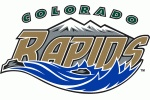 Colorado Rapids Logo - Colours slightly adjusted from previous logo -- Rapids in gold between silver mountains and blue water