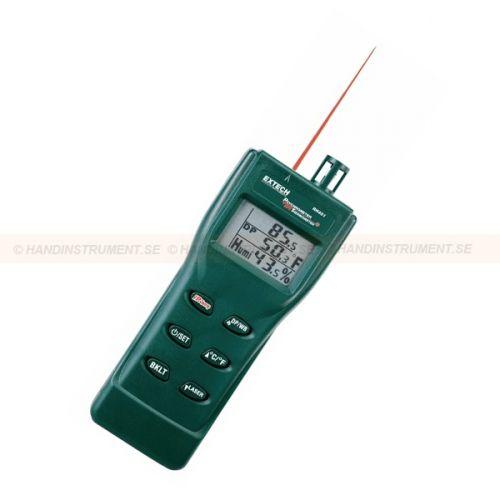 http://handinstrument.se/luftfuktighetsmatare-r688/psykrometer-ir-termometer-53-RH401-r728  Psykrometer   IR-termometer  Triple display med bakgrundsbelysning  Visar Air temp RH yttemperatur eller daggpunkt RH yttemperatur eller våt bulb RH yttemperatur  Inbyggd IR-termometer med laserpekare och 8:1 avståndet till målet förhållandet  Justerbar emissivitet 0,3 till 1,0  Precision luftfuktighet kapacitans givaren är infällbar för skydd under transport och lagring  Beräknar...