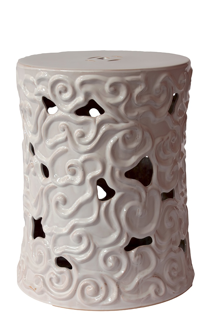 Ceramic Indoor/outdoor Garden Stool In White With Intricate Swirl And  Cut Out Detail. Product: Garden StoolConstruction Material: CeramicColor:  White ...