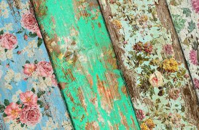 DIY - Vintage Wall Paper - how to make wallpaper look vintage on wood.