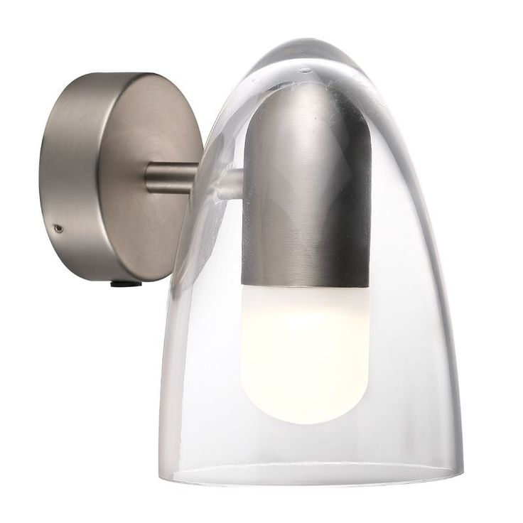 Nordlux IP S7 Clear Shade Wall Light - Brushed Steel