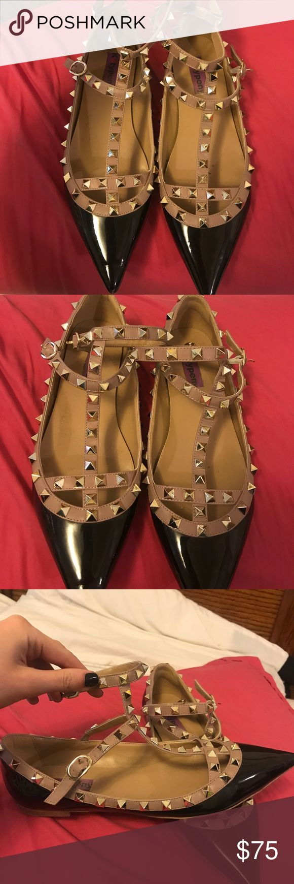 Valentino Rockstud Flats Just like them! Please be aware that these are amazing look alikes! Ignore the price. Posh will remove them. But they're too good not to post. Purchased for over $100 originally. Swoop them up fast! Valentino Shoes Flats & Loafers