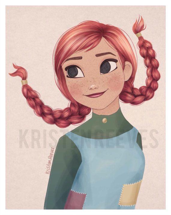 8x10 Pippi Anna Longstocking  Children's by ArtbyKristenReeves