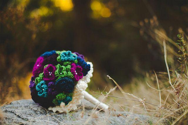 Handmade crocheted wedding bouquet