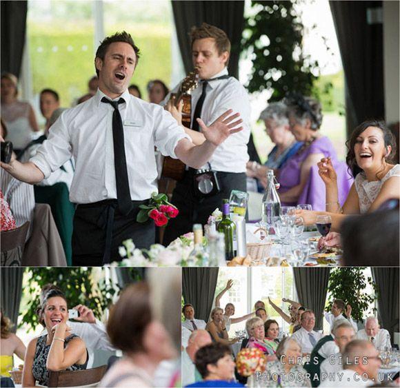 The Singing Waiters inside Henley Business School