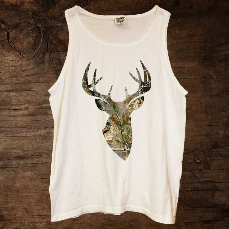 Camo Buck Tank $18.00 http://www.sixshootergiftshop.com/collections/tank-tops/products/camo-buck-tank