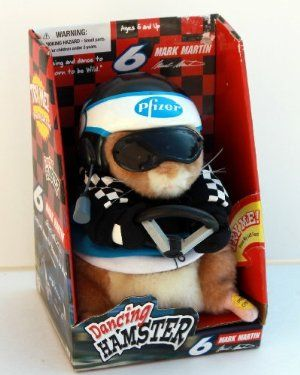 "Dancing Hamster - NASCAR Mark Martin #6 Pfizer - ""Born to be Wild"" by Gemmy. $39.99. dressed as NASCAR driver #6 Mark Martin in Pfizer gear. push his foot to hear ""Born to be Wild"" song. from 2004. hamster wiggles as the song plays. runs on 3""AA"" batteries. Mark Martin NASCAR ""Dancing Hamster"" (Born to be Wild)."