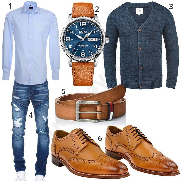Elegantes Herren-Outfit mit Hemd, Strickjacke und Jeans
